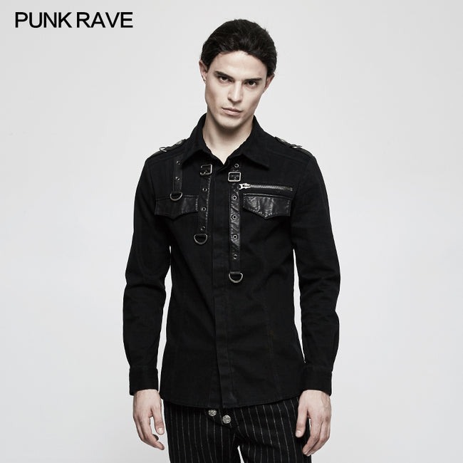 Handsome Wool Long Sleeve Punk Shirts With Personality Leather Loop