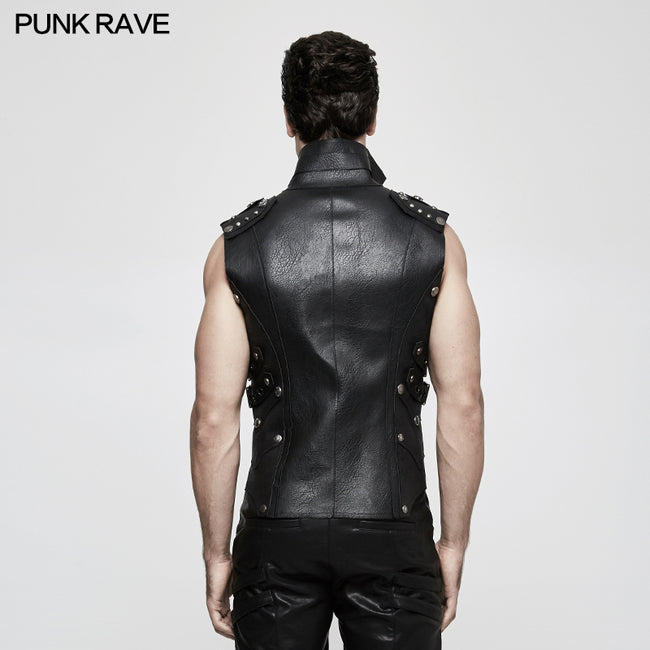 Personality Punk Coat Heavy Leather Sleeveless Waistcoat For Men