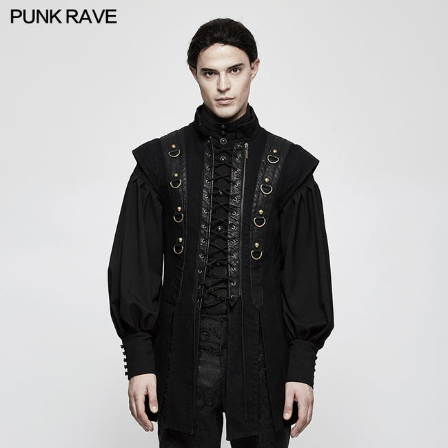 Personality Split Hem Leather Punk Vest For Men