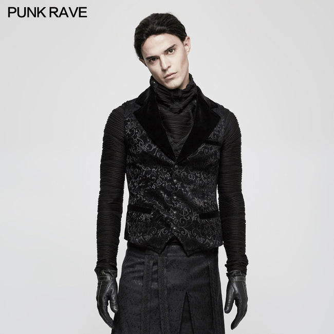 Vintage Jacquard Wool Punk Vest Joker Slim-fitting Waistcoat