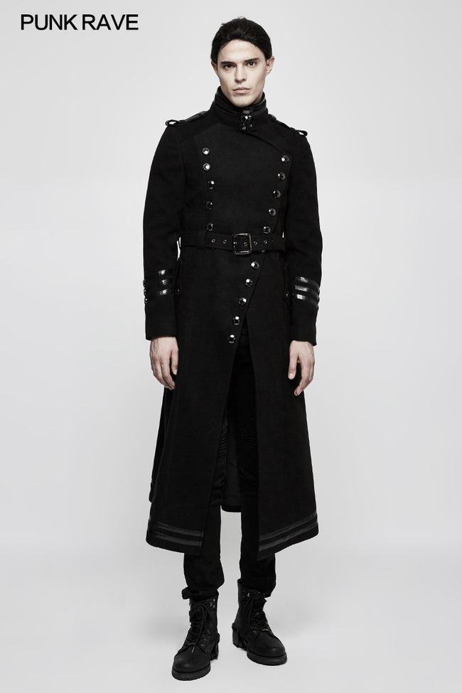 Stand-collar Military Uniform Punk Jacket With Removable Belt