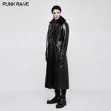 Military Uniform Long Leather Punk Coat With Warm Collar