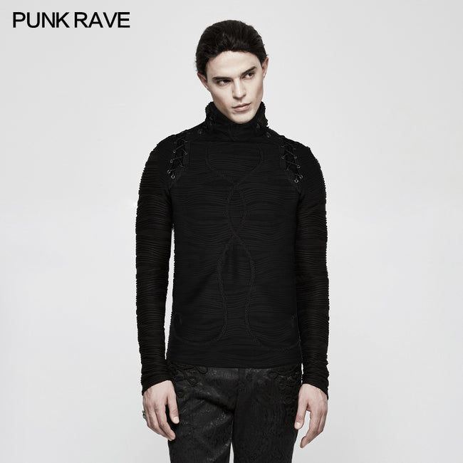 Stereo Stripe Elastic Knitted Gothic T-shirts With High Neck Collar