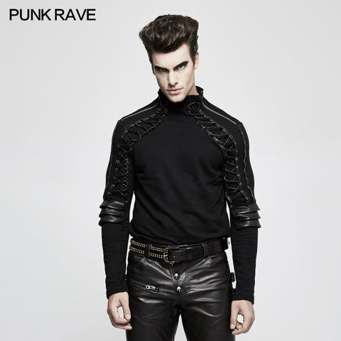 Sweater Knitted Armor Stereo Punk T-shirts With Turtleneck Collar