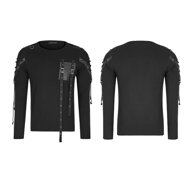 Military Uniform Long Sleeve Punk T-shirts With Ribbon Design