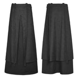 Jacquard Fabric Half Long Black Gothic Skirt For Men