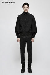 Handsome Jacquard Chinese Frog Black Gothic Pants For Men