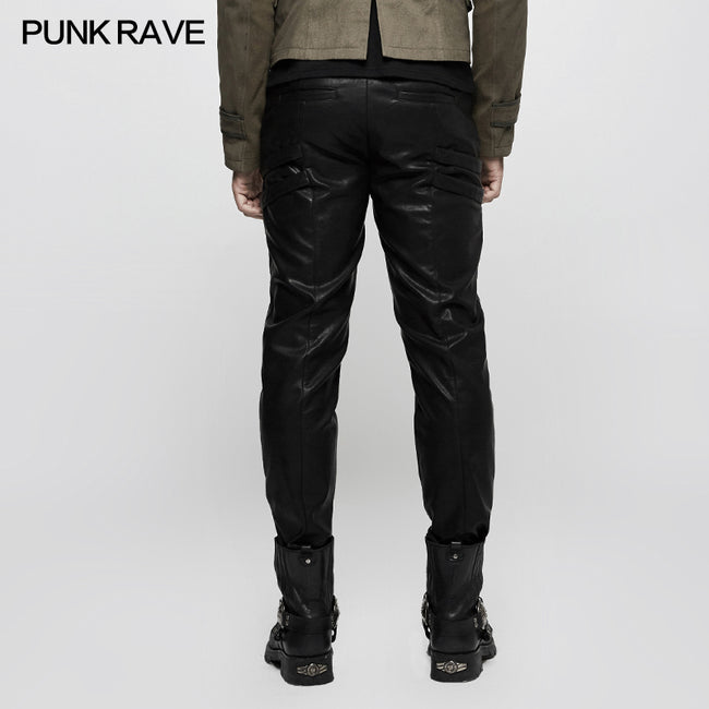 Elastic Mesh Spliced Leather Punk Pants For Men