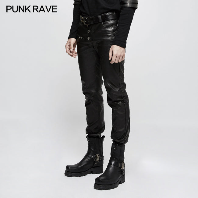 Personality Split Stitch Leather Punk Pants For Men