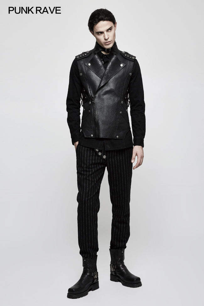 Military Uniform Leisure Punk Pants Suede Suits Woven Striped Worsted Man's Trousers