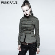 Women Military Uniform Green Short Punk Coat With Stand Collar
