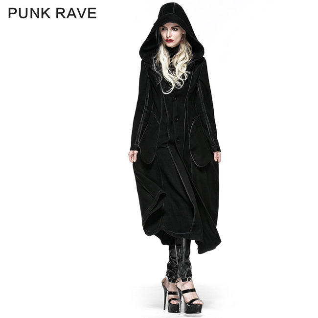 Winter Woolen Long Black Gothic Coat For Women Two Wear Imitation Fur Coat