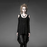 Black Long Loose Soft High-elastic Knitting Punk T-shirts For Women