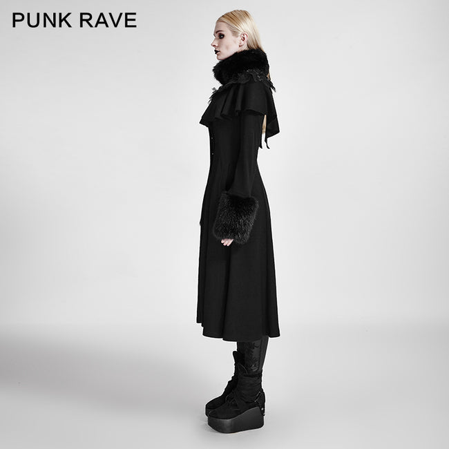 Lolita Style Long Shawl Woolen Gothic Coat With Imitation Fur Collar