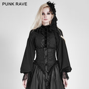 Women Chiffon Lace Fabric Gothic Shirt Lolita Blouse With Unique Sleeve