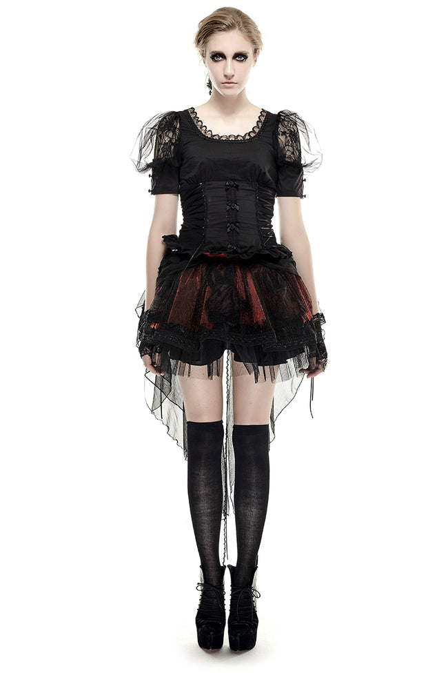 Black Elastic Pastoral Style Gothic Shirts Lace Lolita Blouse