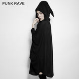 Comfortable Black Bats Punk Jacket With Double Zippers