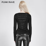 Comfortable Elastic Cotton Knitted Punk T-shirt Dark Skinny Punk Top