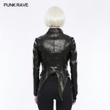 Irregular Shaped Bright Leather Punk Jacket With Stand Collar