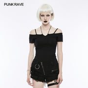 Sexy Off The Shoulder Slim Gothic T-shirt Tie Rope Necklace Top