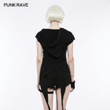 Fashion Slant Hat Mosaic Punk T-shirt Irregular Top