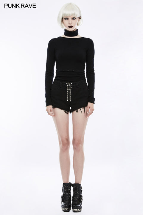 Daily Rivets Punk Pants High Waist Shorts