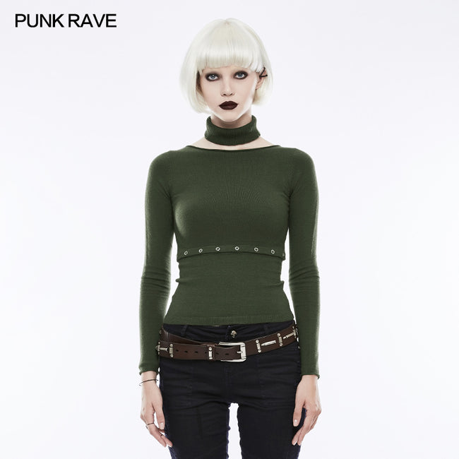 Daily Soft Split Punk Sweater With Separate Collar
