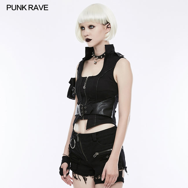 Handsome Punk Vest With Removable Bag
