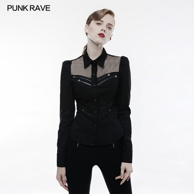 Elastic Military Punk Shirt With Hollow Out Wed Design