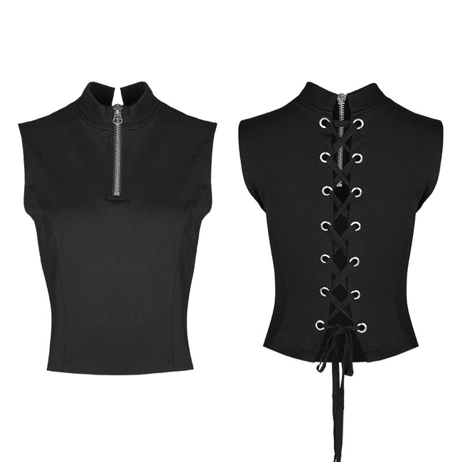 Sexy Sleeveless Zipper Punk T-shirt With Wearing Rope Design