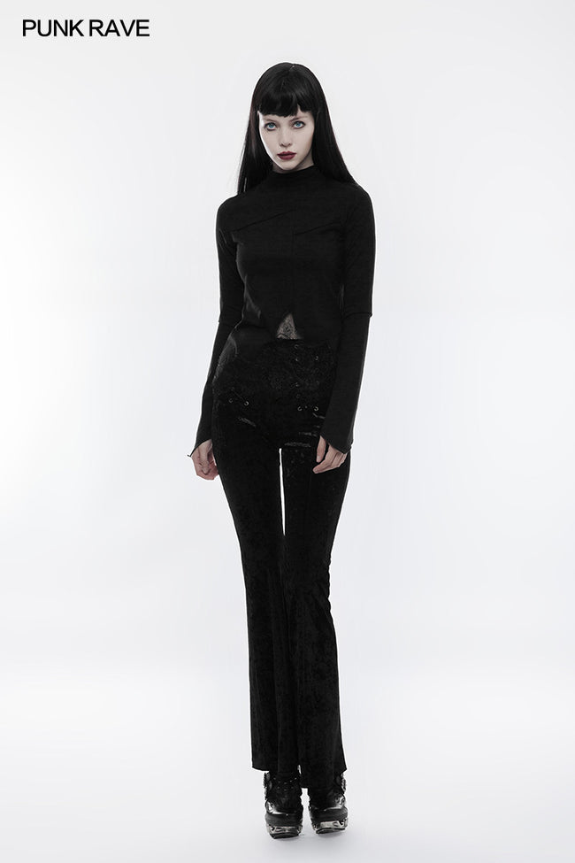 Lace Irregular Hollow-out Long Sleeve Gothic T-shirt