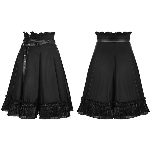 High Waist Short Punk Skirt With Detachable Leather Belt