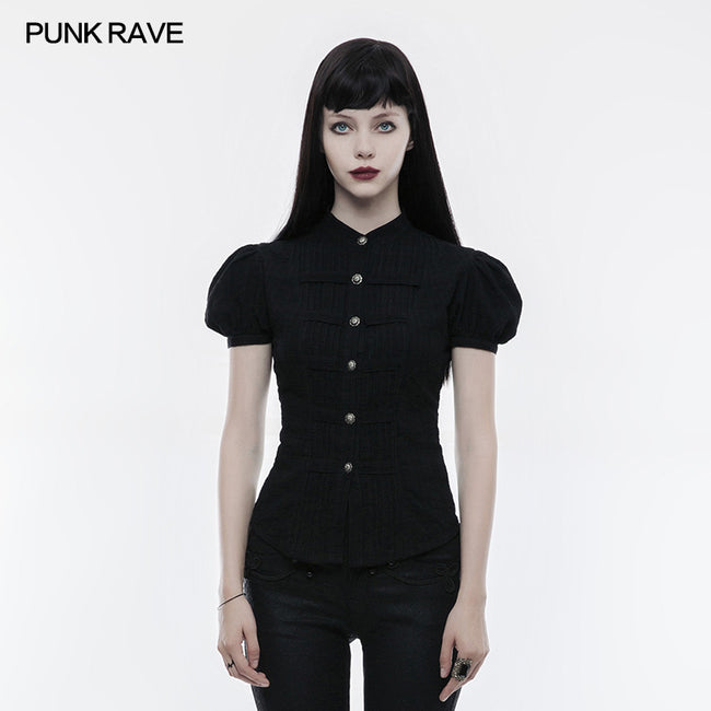 Steampunk Blouse Puff Sleeve Short Punk Shirt For Women
