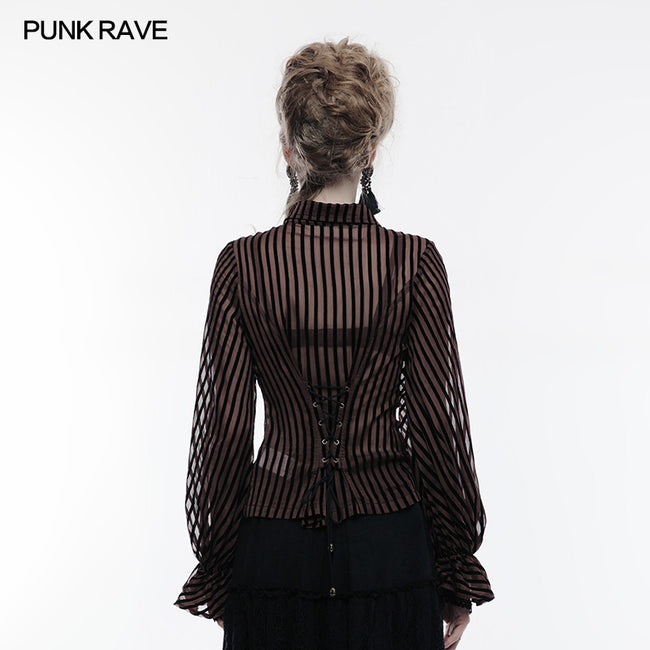 Transparent Striped Punk Shirt Steampunk Blouse