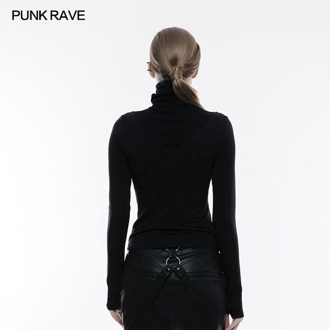 Soft Knitted V Shape Punk T-shirt High Collar Blouse