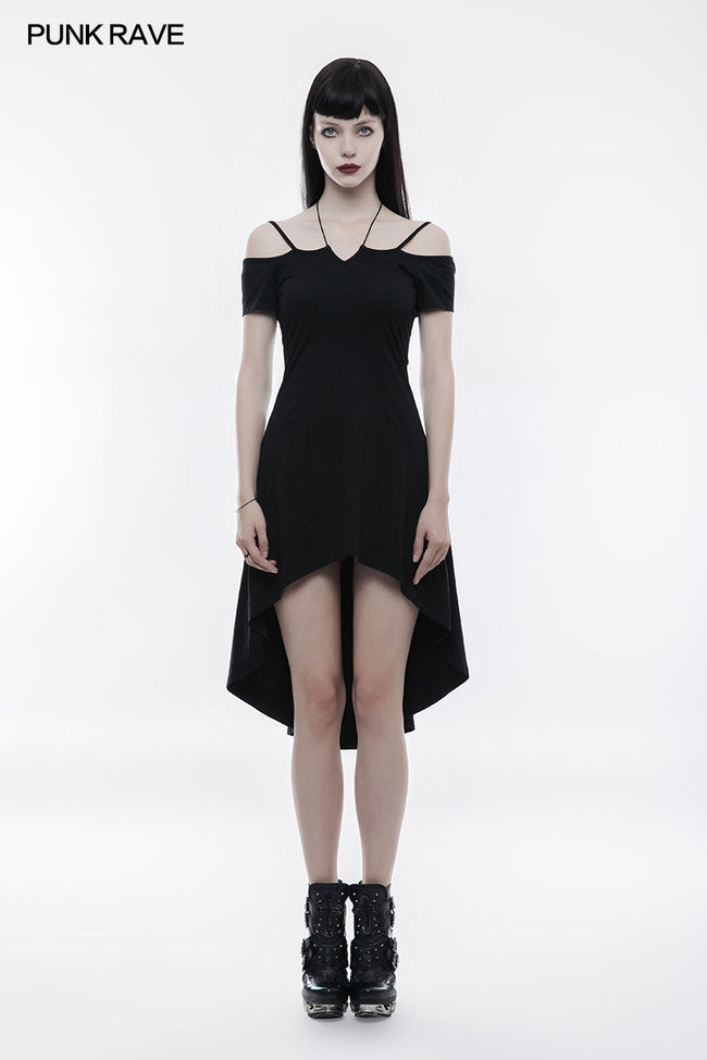Strapless Slim Goth Dress With Rope Necklace