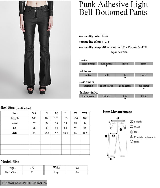 Black Vogue Adhesive Light Bell-bottomed Simple Close-fitting Punk Pants