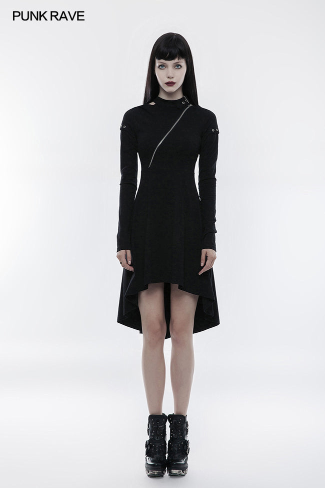 Personality Punk Dress With Hollow Out And Zipper Design
