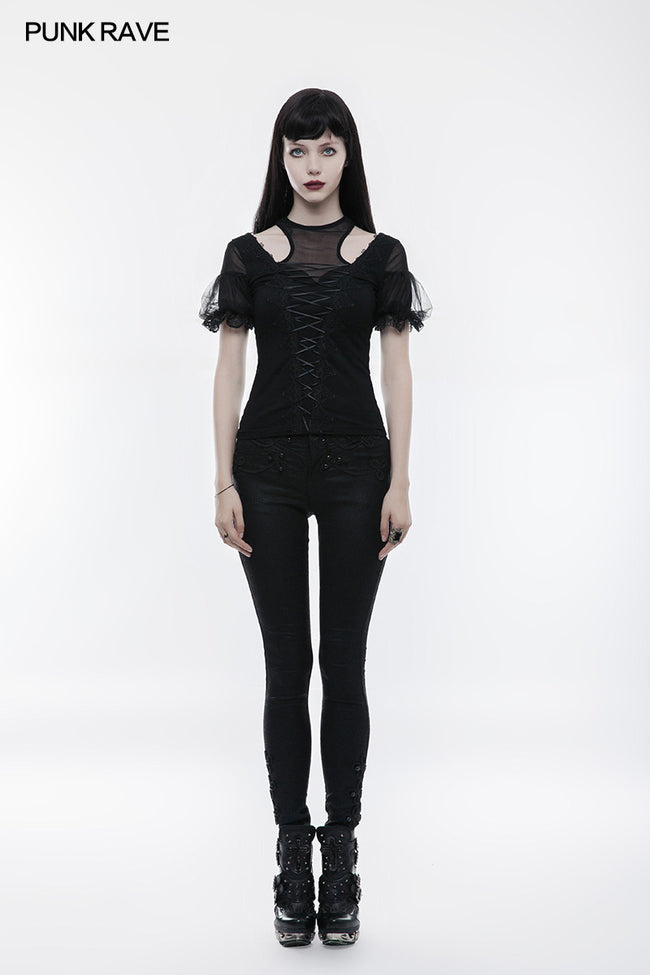 Gorgeous Stretch Blouse Short Sleeve Gothic T-shirt With Lace
