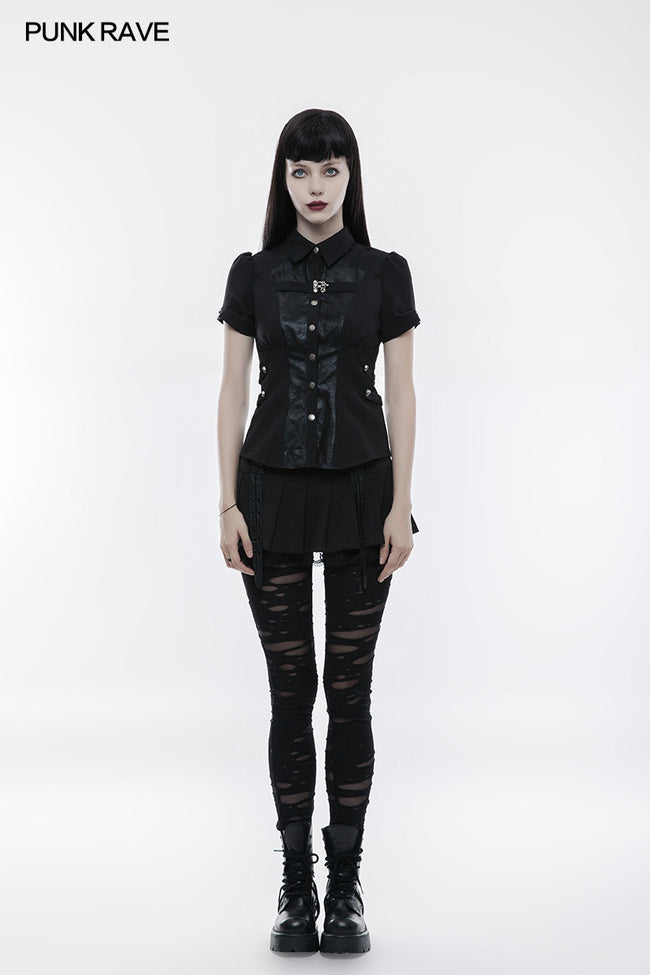 Handsome Elastic Crack Leather Punk Shirt For Women