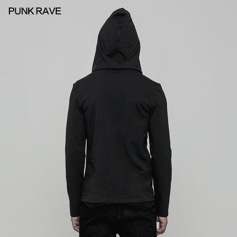 Daily Hooded Micro-elastic Knitted Punk Sweater