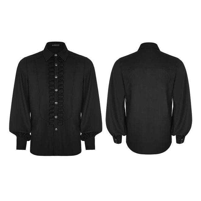 Uniform Long Sleeve Gothic Shirt With Pleated Decoration