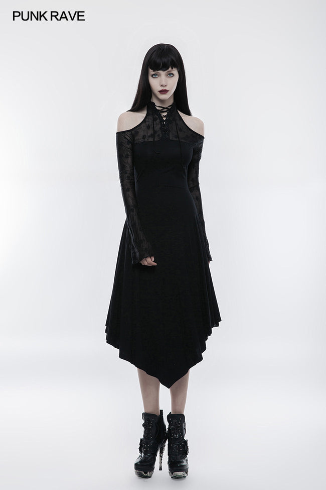 Dark Lace Spliced Sexy Off Shoulder Gothic Dress