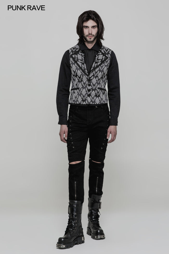 Simple Fashion Jacquard Gothic Vest For Men