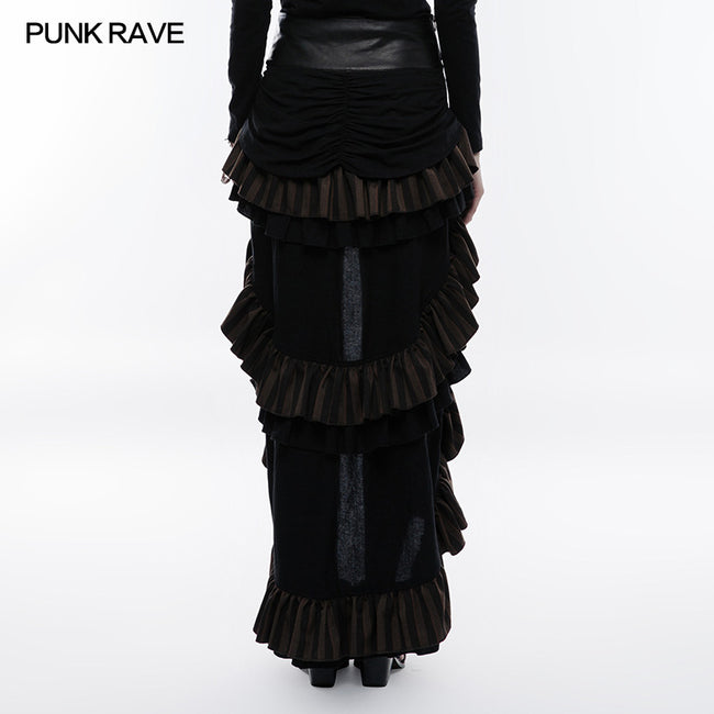 Steampunk Cotton And Linen Layered Punk Skirt
