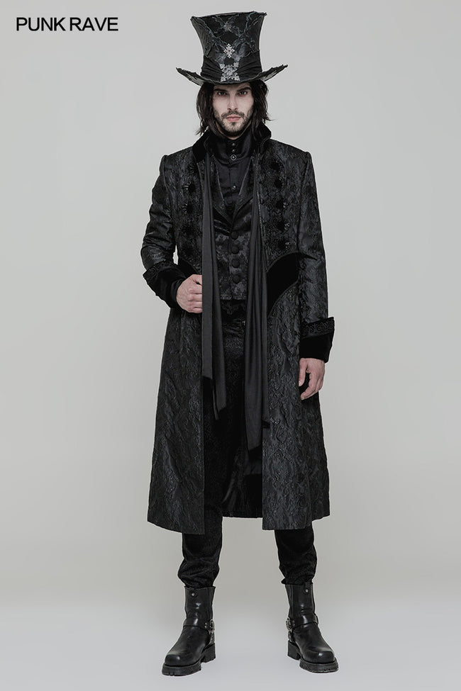 Victoria Gorgeous Long Gothic Coat Stereo Jacquard Men Jacket