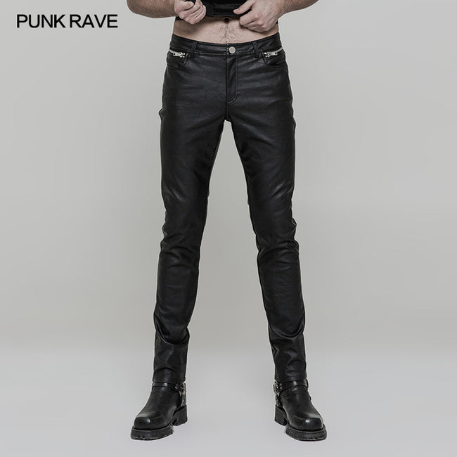 Simple All-match Trousers Elastic Leather Punk Pants