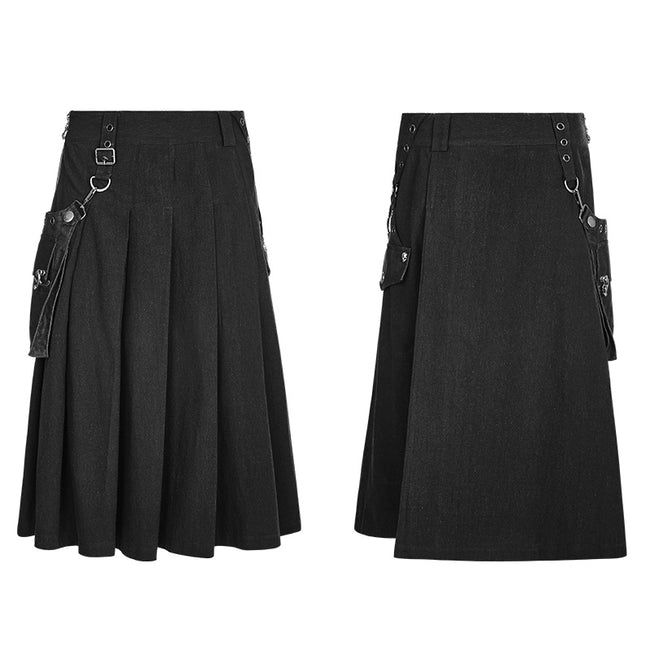 Men Pleated Half Punk Skirt With Stereo Bag On The Right