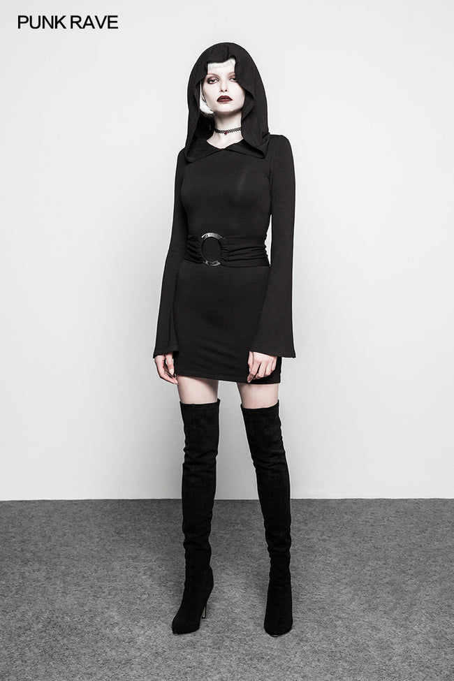 Women Fashion Gothic Dress Black Half Skirt With Oversized Witch Hat