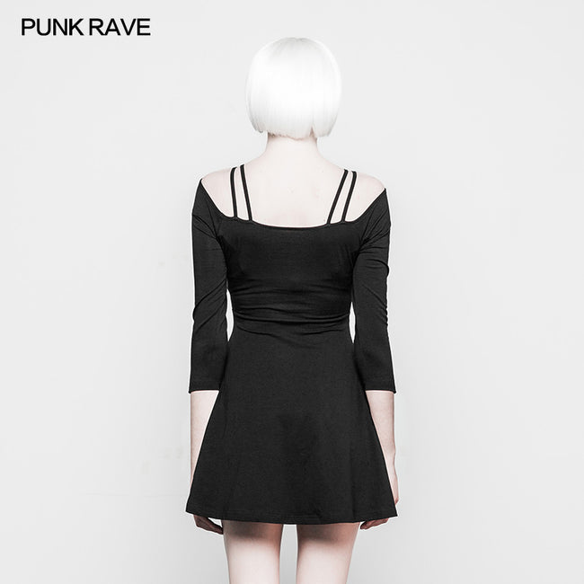 Sexy Slim Fit Strapless Black Gothic Dress For Women